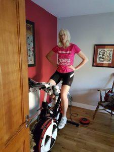 Claire on Watt Bike