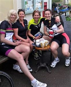 We did cycle really !!! Coffee stop at Napton-on-the -hill with the girls !
